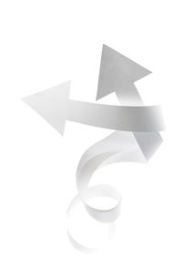 紙で出来て先が二つになった矢印の写真素材 [FYI01458699]