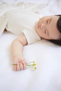 寝ている赤ちゃんが花を持っているの写真素材 [FYI01459768]