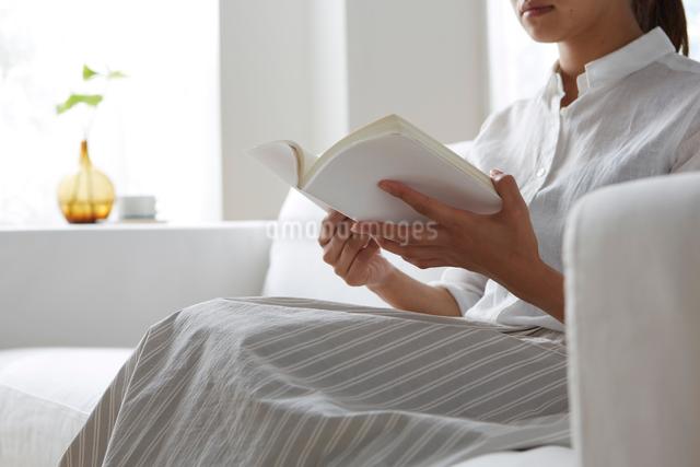 明るい窓際のソファーで本を見る女性の写真素材 [FYI01459962]