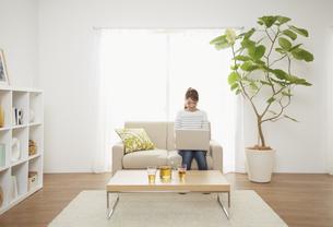 リビングのソファーに座りノートパソコンを見る女性の写真素材 [FYI01460015]
