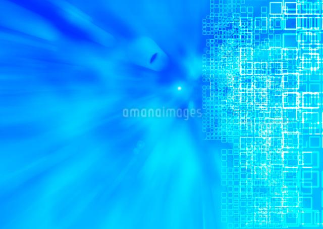 流れるような青い画面と沢山の小さな四角の写真素材 [FYI01460322]