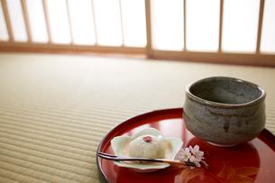 桜餅と抹茶の写真素材 [FYI01460507]