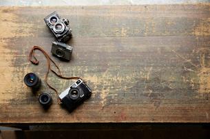 アンティークなカメラとレンズの写真素材 [FYI01460512]
