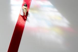 赤いテープの上に立つ新郎新婦と神父の人形の写真素材 [FYI01460956]