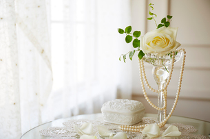 黄色いバラとパールのネックレスの写真素材 [FYI01461057]