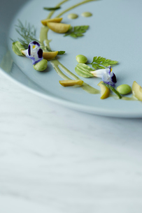 大理石のテーブルに置かれた季節の前菜の写真素材 [FYI01461309]