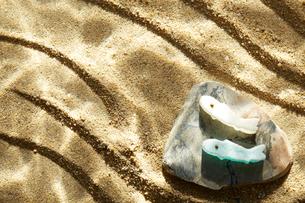 砂に波紋が映った水中イメージと川魚の和菓子の写真素材 [FYI01461419]