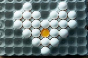 卵パックに並べられた卵のハートの写真素材 [FYI01461817]