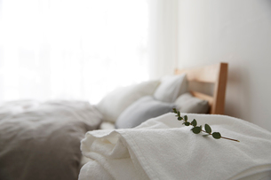 明るい光の入ったシンプルなベッドルームと横に置かれたタオルの写真素材 [FYI01461866]