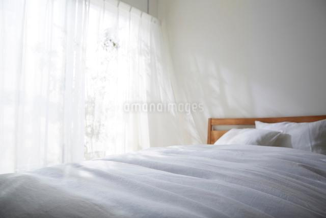 明るい光の入ったナチュラルなベッドルームの写真素材 [FYI01462147]