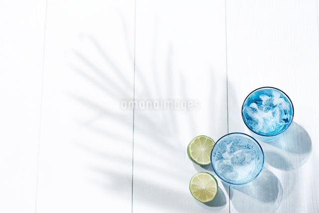 氷と炭酸水が入ったガラスのコップとライムの写真素材 [FYI01462258]
