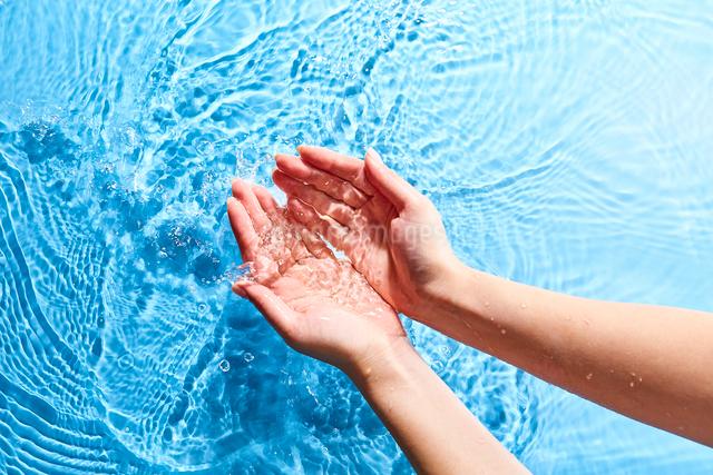 水をすくいあげる女性の手元の写真素材 [FYI01462310]