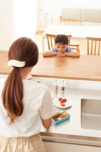 キッチンでお弁当を作る女性と対面でおしゃべりする男の子の写真素材 [FYI01462562]