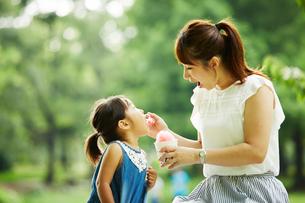 公園内で座って女の子にかき氷をあげるお母さんの写真素材 [FYI01462756]