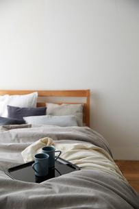 明るい光の入ったシンプルなベッドルームの写真素材 [FYI01462803]