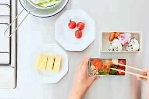 キッチンでお弁当を作る女性の手元の写真素材 [FYI01462804]