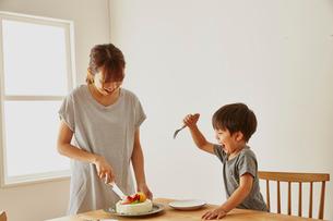 ケーキを切っているお母さんとそれを待ちきれない男の子の写真素材 [FYI01462825]