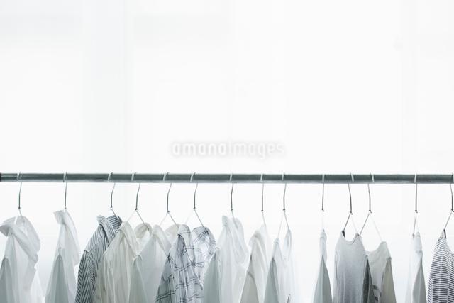 ラックにかかったハンガーと服の写真素材 [FYI01462863]