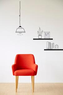 赤い椅子とマスキングテープで作ったペンダントライトのイラスト素材 [FYI01463380]