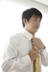 ネクタイを締める30代男性の写真素材 [FYI01463636]