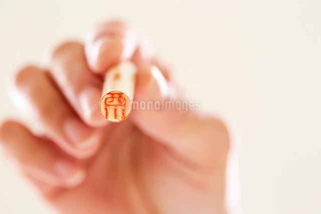 印鑑を持つ女性の手の写真素材 [FYI01463717]
