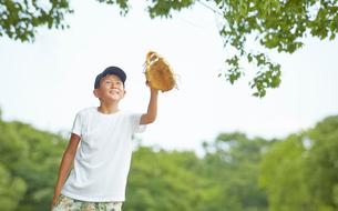 グローブをかまえる男の子の写真素材 [FYI01463920]