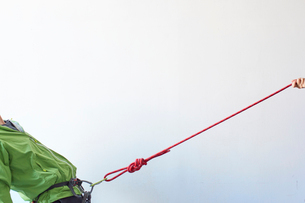 白い壁の前でカラビナがかかったハーネスを引っ張られる登山者の写真素材 [FYI01464099]