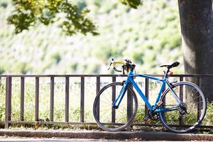 公園の道端に止まっている自転車の写真素材 [FYI01464178]