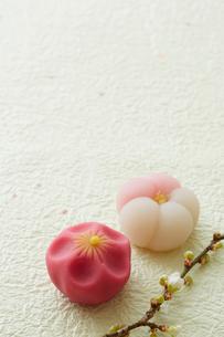 緑の和紙に置かれた梅の練り菓子の写真素材 [FYI01464583]