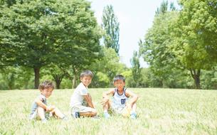 公園の芝生にすわる兄弟の写真素材 [FYI01464653]