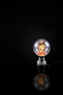 黒い背景の上にある電球の写真素材 [FYI01464739]