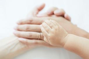 重なり合った父と母と娘の手の写真素材 [FYI01464873]