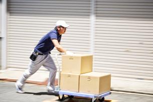 台車を使って段ボールを運んでいる男性の写真素材 [FYI01465401]