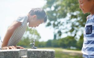 水飲み場で水を飲む男の子の写真素材 [FYI01466564]