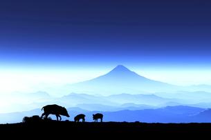富士山の夜明けとイノシシのシルエットのイラスト素材 [FYI01466685]