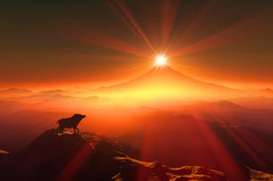 富士山の日の出とイノシシのシルエットのイラスト素材 [FYI01466717]
