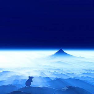 富士山の日の出とネズミのシルエットのイラスト素材 [FYI01466782]