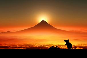 富士山の日の出とネズミのシルエットのイラスト素材 [FYI01466796]