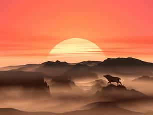 日の出とイノシシのシルエットのイラスト素材 [FYI01466830]