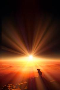 日の出とネズミのシルエットのイラスト素材 [FYI01466980]