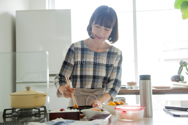 お弁当をつくるミドル女性の写真素材 [FYI01467412]