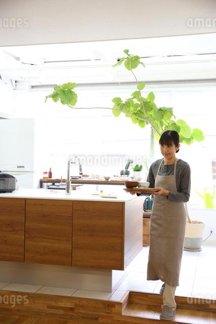 料理を運ぶミドル女性の写真素材 [FYI01467438]