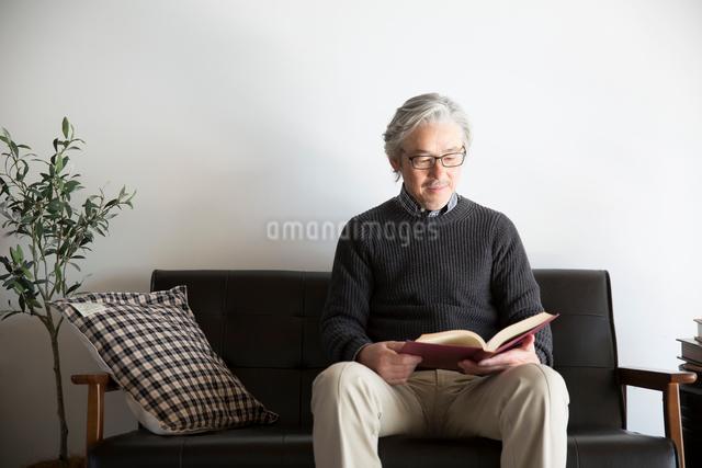ソファで読書するぐシニア男性の写真素材 [FYI01467560]