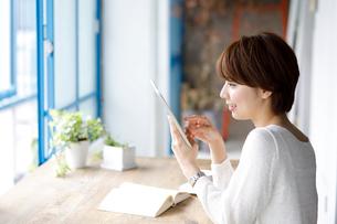 窓辺でタブレット端末を持つ若い女性の写真素材 [FYI01467627]