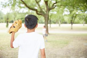 グローブをかまえる男の子の後ろ姿の写真素材 [FYI01468489]