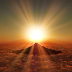 富士山の日の出の写真素材 [FYI01469462]