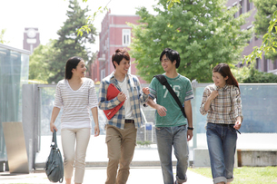 キャンパスを歩く4人の大学生の写真素材 [FYI01470782]