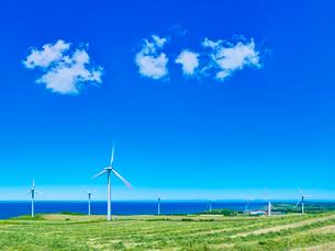 発電風車と青空に夏雲の写真素材 [FYI01471047]