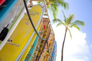 ワイキキビーチのサーフボードの写真素材 [FYI01471147]