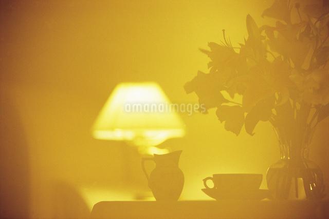 ガラスに映るテーブルセットの写真素材 [FYI01471255]